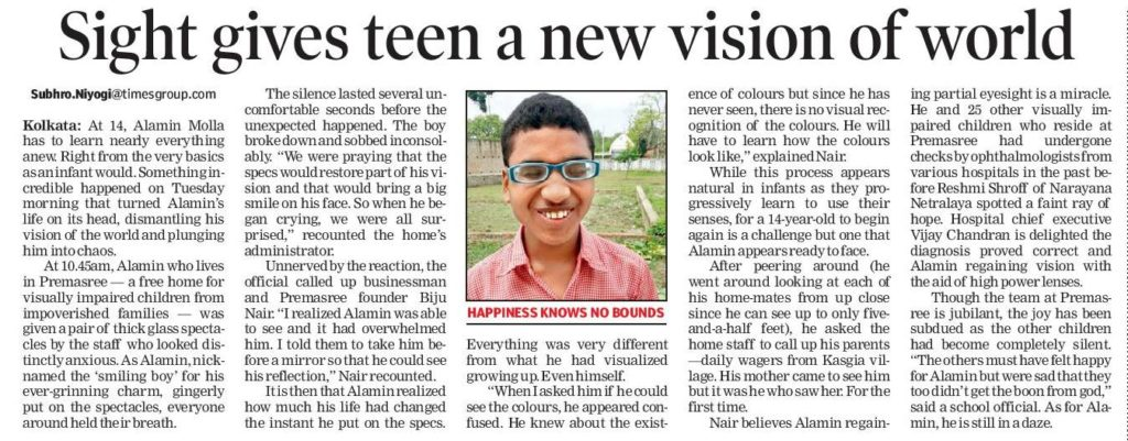 Article in The Times of India,(Times City),8th April,Page 2